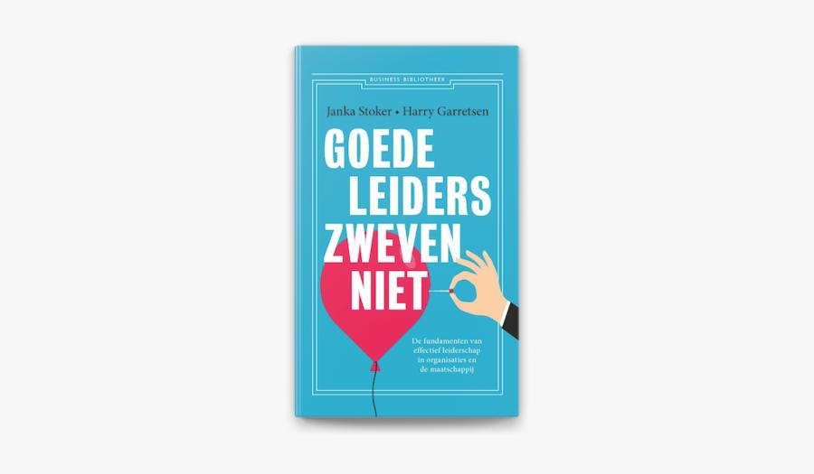 Cover van boek: Goede leiders zweven niet. Illustratie van hand die met een ballon lekprikt