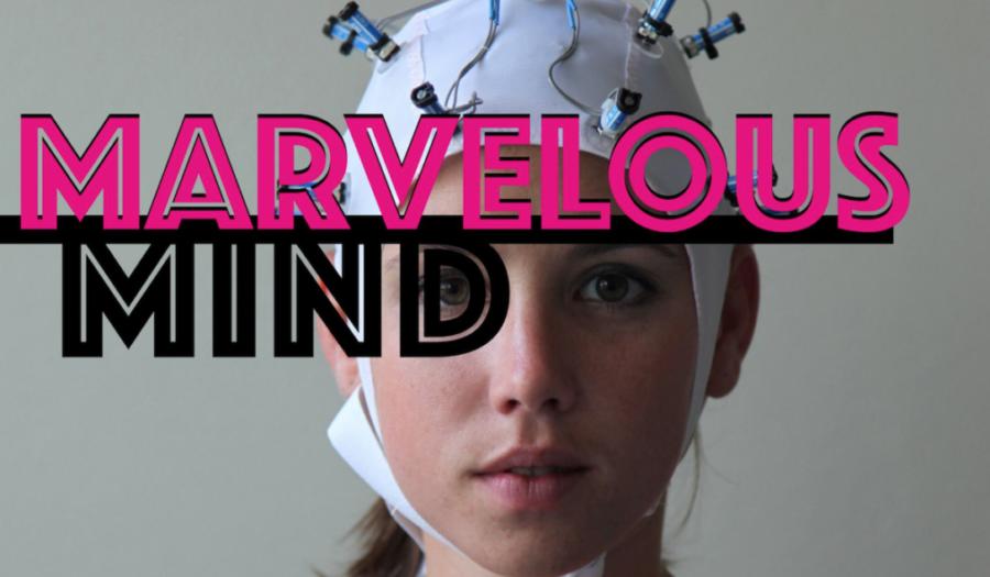 Poster met logo Marvelous Mind en foto van gezicht vrouw