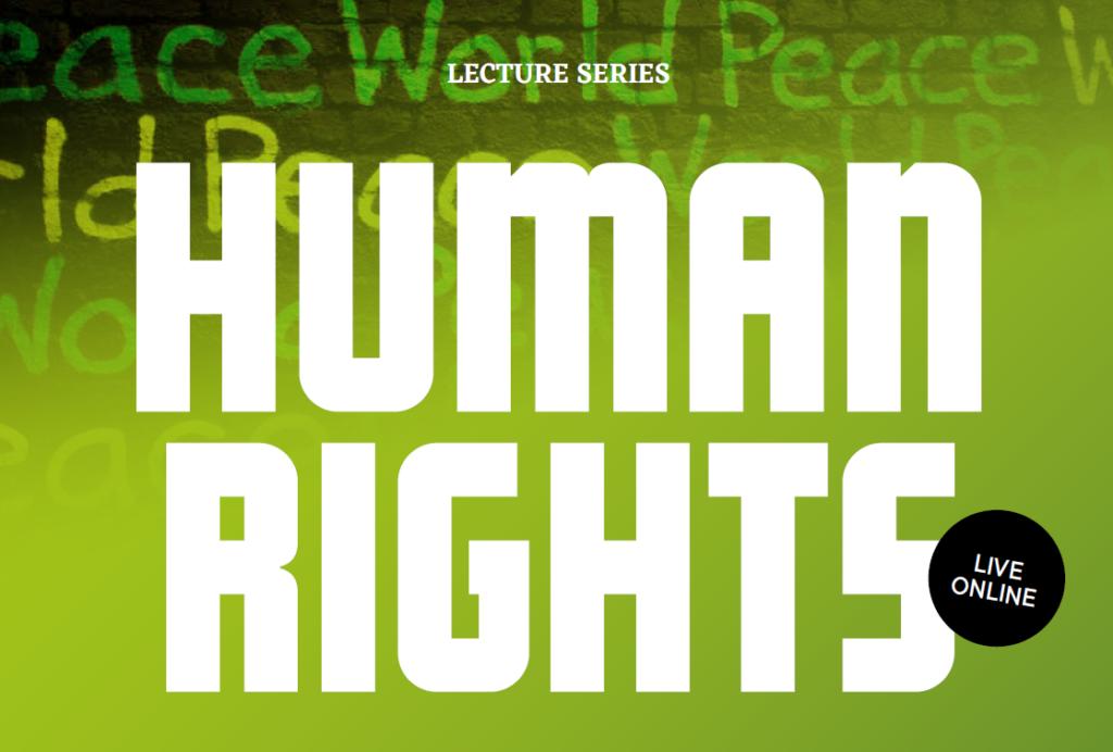 Uitsnede van promotiematerial over publiekslezingenserie over mensenrechten