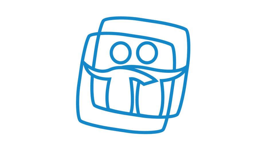 Logo Tweelingenregister - Toont twee figuren in een vierkant