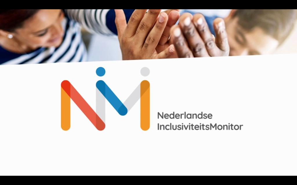 Logo van inclusiviteitsmonitor in oranje, rood en blauw