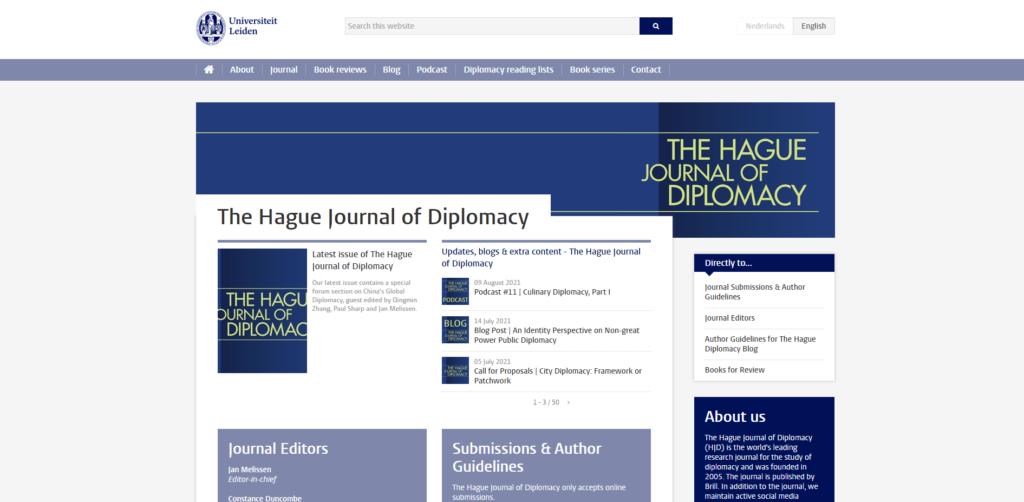 Screenshot van webpagina The Hague Diplomacy Platform