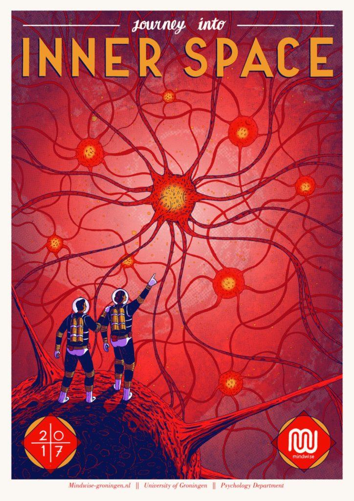 Illustratie van twee wetenschappers die naar neuronen wijzen