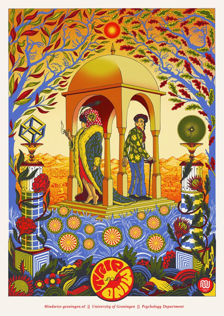 Illustratie van twee mensen in een kapel
