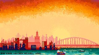 Afbeelding van een metropool bij zonsondergang