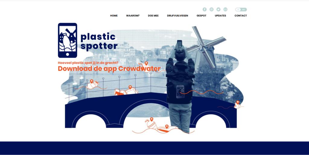 Screenshot van webpagina Plasticspotter