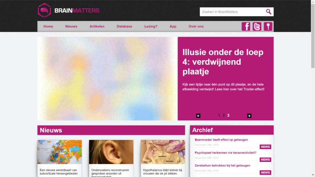 Screenshot van artikel op webpagina Brainmatters