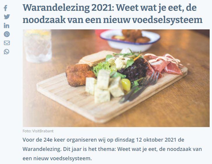 Foto van plankje met eten en titel Warandelezing 2021: Weet wat je eet, de noodzaak van een nieuw voedselsysteem