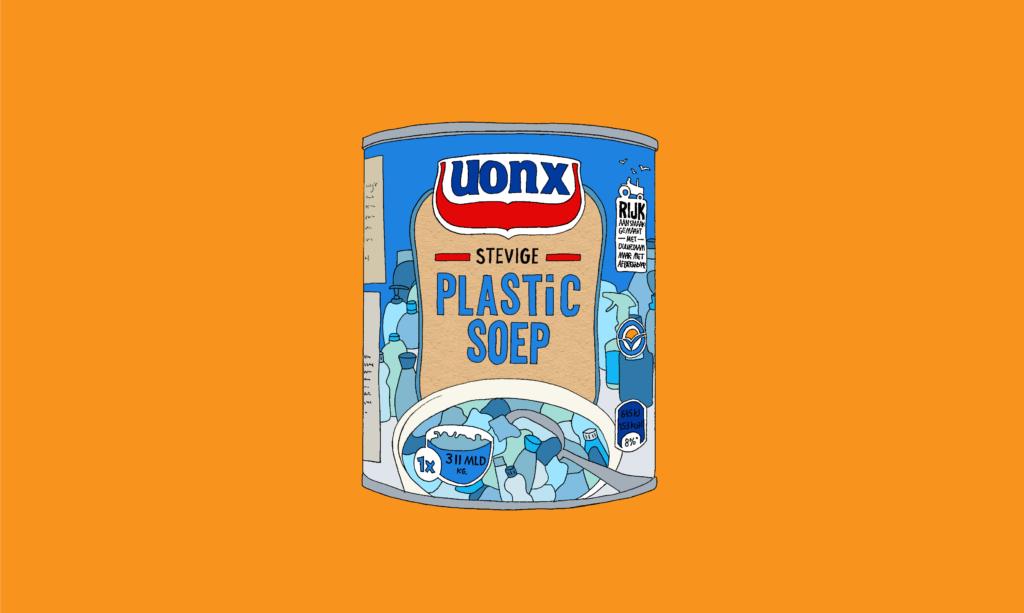 Illustratie van een blik 'UONX Plasic Soep'